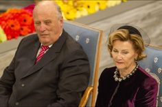 The 2014 Nobel Peace Prize Ceremony in Norway. (LtoR) Harald V, King of Norway and Sonja, Queen of Norway.