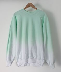 Mint to lavender ombre sweatshirt Mint Sweater, Ombre Sweater, Pullover Hoodie, Sweater Hoodie, Sweater Weather, Dip Dye Shirt, Cotton Jumper, Hoodies, Sweatshirts