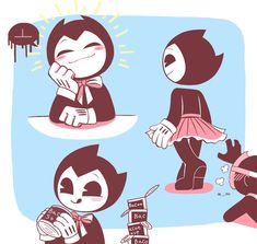 sammy x bendy by LuvRuby on DeviantArt Bendy Y Boris, Fan Drawing, Alice Angel, Black And White Cartoon, I Love Games, Just Ink, Bendy And The Ink Machine, Cat Boarding, Pretty Art