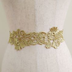 Gold floral lace sash, Golden flower sash, Wedding sash, Bridal gown belt, Dress sash, Bridesmaid sash, Flower girl sash, Satin ribbon belt
