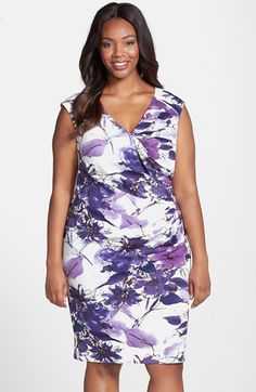 bf5c71aad0c Adrianna Papell Floral Print Sleeveless Side Pleat Sheath Dress (Plus Size)  available at