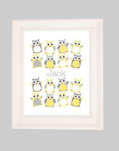 Owl Nursery, Personalized Name, Art for Nursery, Nursery Art Print, Owl Nursery, Kids Art, Nursery Decor, Nursery Wall Art, Hootenanny 8x10. $18.00, via Etsy.