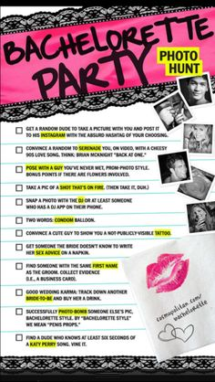 Perhaps we should start a Bachelorette Party Board.//The only bachelorette party scavenger hunt you need! Doubt I'll ever need it again, but these are hilarious! Bachlorette Party, Bachelorette Party Scavenger Hunt, Bachelorette Parties, Bachelorette Weekend, Bridal Parties, Bachelorette Party Checklist, Future Mrs, Bridesmaid Duties, Bridesmaids