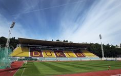 A photo of the mighty main stand at Dukla Praha's Juliska stadium in Prague 6-Dejvice, taken by Michal Šula as part of a Dukla photo essay on iDnes.cz