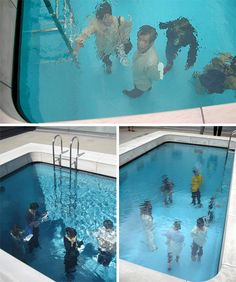 These highly unusual swimming pools are, in fact, illusions. Rather than being filled from bottom to top with water, these basins only have a very thin layer of H2O at the top. The chamber of the pool is actually a room that is entered through a small door to one side. The 10 cm-thick layer of water creates the illusion of a pool that is filled to the brim.  -----  hahha