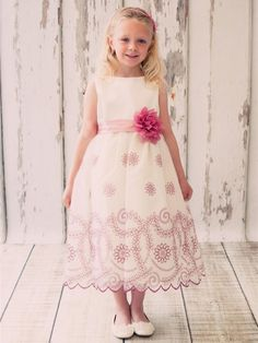 Lovely Organza Flower Girl Dress with Embroidered Skirt 7dd630f6a77b