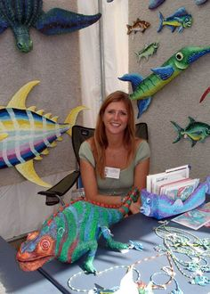 jenny stine paper mache | jenny stine known for her colorful and fun paper mache fish and ...Love the Lizard.....TALENT.....