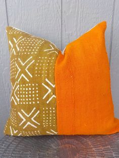 Autumn orange and brown mud cloth pillow cover Diy Cushion Covers, Pillow Covers, Earth Tone Colors, African Mud Cloth, Safari Theme, Bohemian Decor, Throw Pillows, Handmade, Autumn