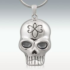 Black Odessa Skull Sterling Silver Cremation Jewelry