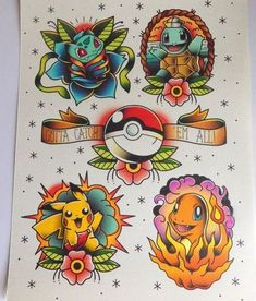 """Cool traditional Pokemon: Bulbasaur, Charmander, Pikachu and Squirtle. """"Gotta catch them all!"""". Style: Old School. Color: Colorful. Tags: Creative, Beautiful, Awesome"""
