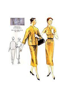 2324 Vogue Vintage Model Original 1953 Design Jacket and Dress with Straight Skirt, Uncut, Factory Folded, Sewing Pattern Size 14 Contour Belt, Vintage Models, Straight Skirt, 1950s Fashion, Fitted Bodice, Shoulder Pads, Size 14, Sewing Patterns, Vogue