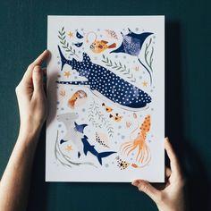 'Deep Blue Sea' Whale Shark, Hammerhead And Sea Creatures Fine Art Print For Children - A4 (21cm X 29.7cm)