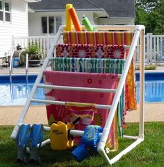 Pool Float Storage Ideas bronze pool accessory storage bin pottery barn How To Build A Pvc Pool Towel Rack
