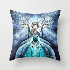 """Mandie Manzano """"The Snow Queen"""" Frozen Outdoor Throw Pillow Disney Throw Pillows, Modern Throw Pillows, Outdoor Throw Pillows, Girls Bedroom Furniture, Bedroom Decor For Teen Girls, Diy Dorm Decor, Dorm Decorations, Disney Bedrooms, Queen Art"""