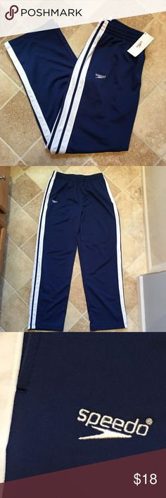 NWT Men's Speedo Track Pants, Navy White Stripes L Brand NEW with tags, Men's size Large Speedo Jogging Track pants, elastic waist, navy blue with white stripes, pockets and tie waist, Great as a gift or to lounge around for the holidays!! ((Smoke-free, pet-free home!)) Speedo Pants Sweatpants & Joggers