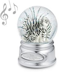 Personalized Tiger and Cub Musical Winter Snow Globe