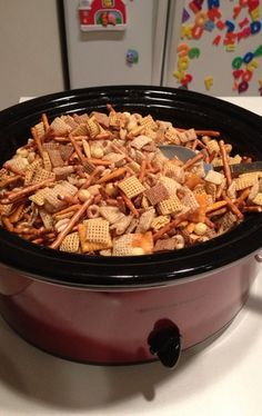 Homemade Chex Mix in the Crockpot: Fill crockpot with your favorite Chex cereals, pretzels, and nuts. In separate bowl, melt 1/4 cup butter & add 4 tsp worchestershire sauce, 1 tsp salt, 1 tsp garlic powder, 1/2 tsp onion powder, 1/4 tsp sugar -- stir to dissolve. Pour over cereal & stir. Cook on LOW for 2.5 hours, stirring every 30 minutes.  Perfect for big batches.