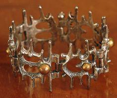 Circa 1970 Modernist Brutalist Sculptural Pewter Bracelet signed Robert Larin