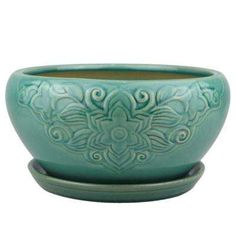 Trendspot 8 in. Teal Florelle Kurv Ceramic - The Home Depot Ceramic Planters, Ceramic Clay, Ceramic Bowls, Ceramic Pottery, Planter Pots, Container Size, Container Plants, Orchid Pot, Square Planters