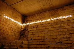 neon on brick wall.what a great combo! Neon Lighting, Interior Lighting, Lighting Design, Paris December, Neon Quotes, Light Writing, Environmental Graphics, Light Installation, Interior Exterior