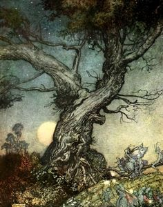 Arthur Rackham: a true Victorian illustrator, whose work displays all the influences of the Art Nouveau AND Arts  Crafts movement.
