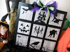 Lots of Halloween Silhouettes - except do on cardboard (possibly shoe boxes) instead of canvas (cheaper).