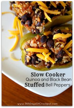 Slow Cooker Vegetarian Quinoa and Black Bean Stuffed Peppers from 365 Days of Slow Cooking - Slow Cooker or Pressure Cooker Slow Cooker Quinoa, Crock Pot Slow Cooker, Crock Pot Cooking, Slow Cooker Recipes, Crockpot Recipes, Cooking Recipes, Crockpot Quinoa, Crockpot Peppers, Quinoa Recipe