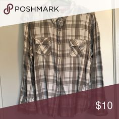 Gray Plaid Flannel Flannel never goes out of style, add some jeans or leggings and cozy boots for a winter/autumn adventure! Merona Tops Button Down Shirts