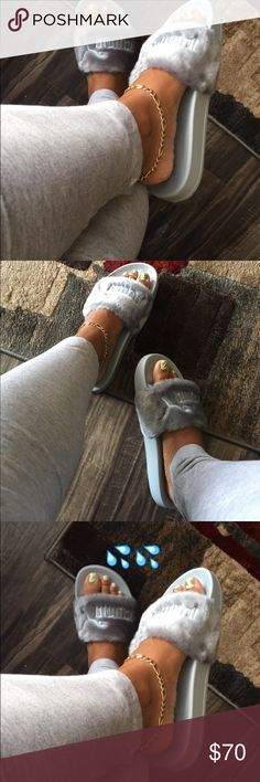 Sold - Rihanna Fenty Puma Slides - Grey 8.5 Will have more !! Fashion Rihanna slides. Comfy. Color grey. Comes with box and designer pouch. Puma Shoes Slippers