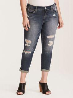 afcf1a91d95 Plus Size Torrid Premium Stretch Cropped Skinny Jeans - Medium Wash with  Destruction