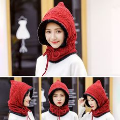 1dfe02a2cbc8b US 15.26 49% Winter Thicken Plus Velvet Cycling Siamese Ski Knit Hat Scarf  Windproof Earmuffs Beanie Women s Accessories from Clothing and Apparel on  ...