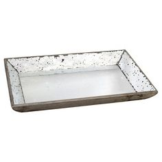 A&B Home Decorative Glass Tray -Silver Grey