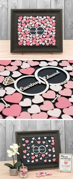 Mix Size Hearts Rustic Wedding Guest Book Alternative/ Alternative Drop Box / Personalized Guest Book Frame - Hearts & Rings by TokenGram