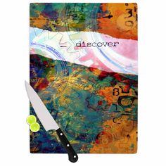 Kess InHouse AlyZen Moonshadow 'Discover 3' color Cutting Board