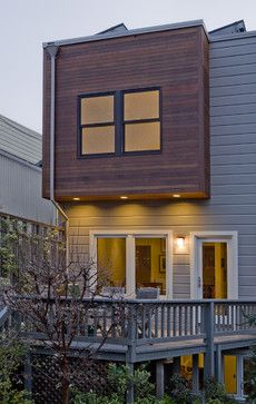 Light gray and stained cedar - contemporary - exterior - san francisco - Andre Rothblatt Architecture