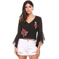 Dresslink - Dresslink Black Flare Sleeve V Neck Floral Embroidery Backless Pullover Tops - AdoreWe.com