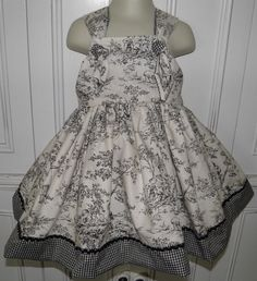 Black & White Toile Boutique Dress Size 2T 3T by threegenjewelry, $19.99