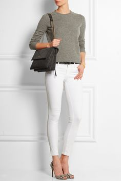 Lanvin Sugar medium quilted suede shoulder bag+ grey sweater + white pants