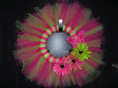 Tulle Wreath with Butterfly and Flowers - in Pink and Green
