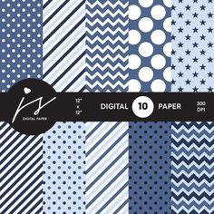 Blue Digital Paper Pack Printable Paper Seamless by JSdigitalpaper