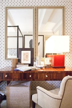 Beautiful wood desk with two mirrors | The Lonny Magazine; Design by Thomas O'Brien for VERANDA magazine