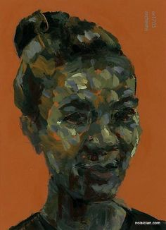 Woman with Hair in Bun, by Jeff Wrench, acrylic on paint chip.