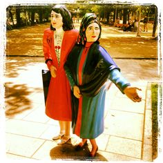 The two Marias is the most photographed object in Santiago. One of the reasons why it is so popular is not because of their life story but because it is the first monument in Santiago that is at your height. So you can hug them, be with them.