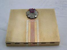 Superb Vintage Asprey Art Deco 9ct gold ruby and diamond powder compact  #Asprey…