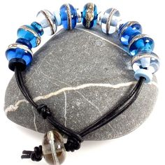 Surf's Up! Lampwork and Leather Bracelet  £18.00