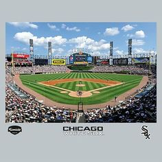 Chicago White Sox US Cellular Field Stadium Mural, Fathead Chicago White Sox Stadium, Chicago Baseball, Baseball Field, Chicago Cubs, 2005 World Series, Baseball Posters, Us Cellular, Teen Bedding