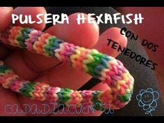 Tutorial para hacer pulseras con gomitas elásticas del pelo o ligas REDONDA- HEXAFISH (sin telar) - YouTube