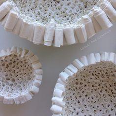 Grouping of Three Vessels #lesleydoeceramics #contemporaryceramics #porcelain #paper #handbuilt #CREmerging #doeandday