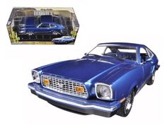 1976 Ford Mustang II Mach 1 Blue with Black 1/18 Diecast Model Car by Greenlight