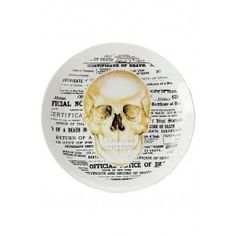 SOURPUSS SKULL PLATE Oh the horror! You're guests will gasp as they take their last bite! The ceramic skull plate features a creepy death certificate & skull illustration collage. Rock And Roll, Gothic Shop, City O, Horror, Retro Tattoos, Skeleton Bones, Black Coffee Tables, Skull Illustration, Human Anatomy And Physiology